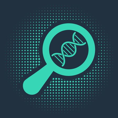Green DNA research, search icon isolated on blue background. Magnifying glass and dna chain. Genetic engineering, cloning, paternity testing. Abstract circle random dots. Vector Illustration