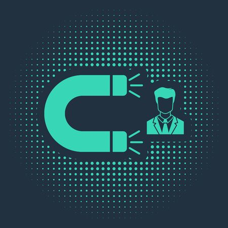 Green Customer attracting icon isolated on blue background. Customer retention, support and service. Customer man attracting with magnet. Abstract circle random dots. Vector Illustration Stock Illustratie