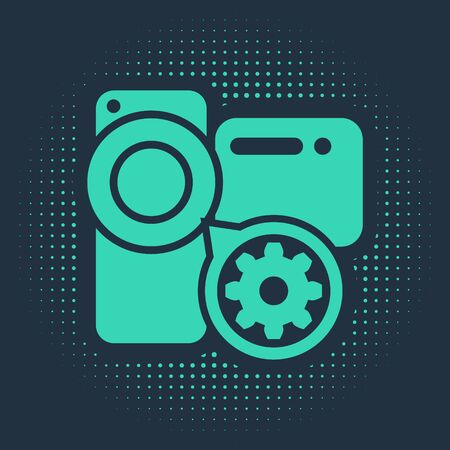 Green Video camera and gear icon isolated on blue background. Adjusting app, service concept, setting options, maintenance, repair, fixing. Abstract circle random dots. Vector Illustration