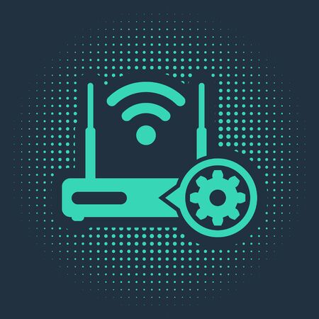 Green Router and wifi signal and gear icon isolated on blue background.