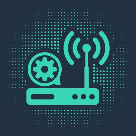 Green Router and wi-fi signal and gear icon isolated on blue background. Adjusting app, service concept, setting options, maintenance, repair, fixing. Abstract circle random dots. Vector Illustration
