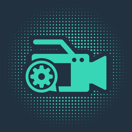 Green Video camera and gear icon isolated on blue background. Adjusting app, service concept, setting options, maintenance, repair, fixing. Abstract circle random dots. Vector Illustration Zdjęcie Seryjne - 134172314