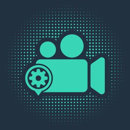 Green Movie or Video camera and gear icon isolated on blue background. Adjusting app, service concept, setting options, maintenance, repair, fixing. Abstract circle random dots. Vector Illustration