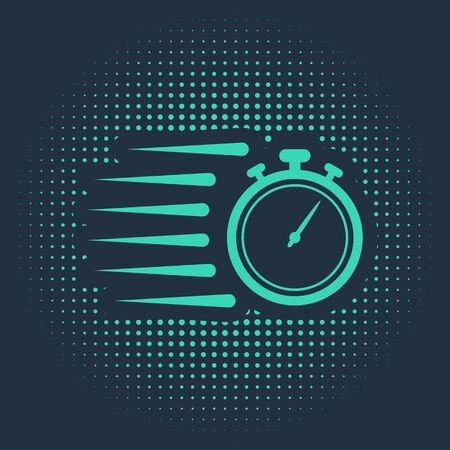 Green Stopwatch icon isolated on blue background. Time timer sign. Chronometer sign. Abstract circle random dots. Vector Illustration