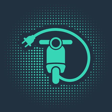 Green Electric scooter icon isolated on blue background. Abstract circle random dots. Vector Illustration