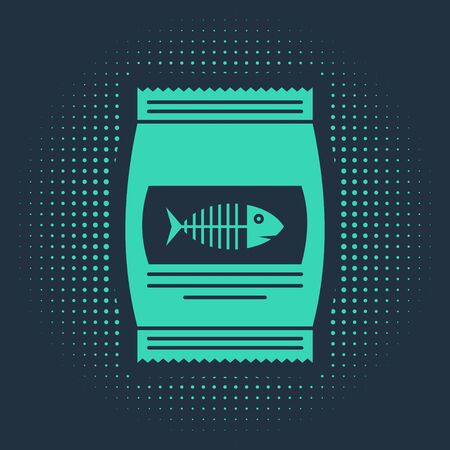 Green Bag of food for cat icon isolated on blue background. Fish skeleton sign. Food for animals. Pet food package. Abstract circle random dots. Vector Illustration Vectores