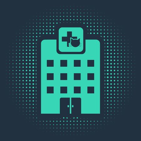 Green Veterinary medicine hospital, clinic or pet shop for animals icon isolated on blue background. Vet or veterinarian clinic. Abstract circle random dots. Vector Illustration