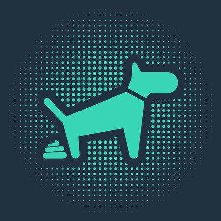 Green Dog pooping icon isolated on blue background. Dog goes to the toilet. Dog defecates. The concept of place for walking pets. Abstract circle random dots. Vector Illustration Illustration