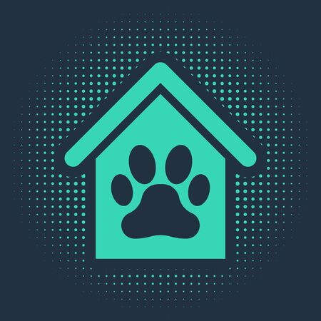 Green Dog house and paw print pet icon isolated on blue background. Dog kennel. Abstract circle random dots. Vector Illustration Illustration