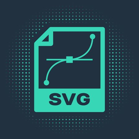 Green SVG file document. Download svg button icon isolated on blue background. SVG file symbol. Abstract circle random dots. Vector Illustration  イラスト・ベクター素材