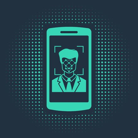 Green Mobile phone and face recognition icon isolated on blue background. Face identification scanner icon. Facial id. Cyber security. Abstract circle random dots. Vector Illustration Ilustração