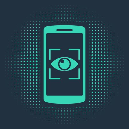 Green Mobile phone and eye scan icon isolated on blue background. Scanning eye. Security check symbol. Cyber eye sign. Abstract circle random dots. Vector Illustration Ilustração