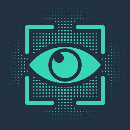 Green Eye scan icon isolated on blue background. Scanning eye. Security check symbol. Cyber eye sign. Abstract circle random dots. Vector Illustration