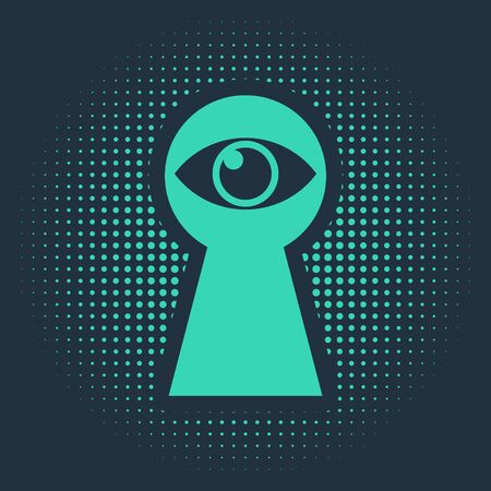 Green Keyhole with eye icon isolated on blue background. The eye looks into the keyhole. Keyhole eye hole. Abstract circle random dots. Vector Illustration