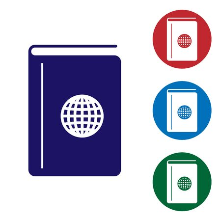 Blue Cover book travel guide icon isolated on white background. Set color icons in circle buttons. Vector Illustration