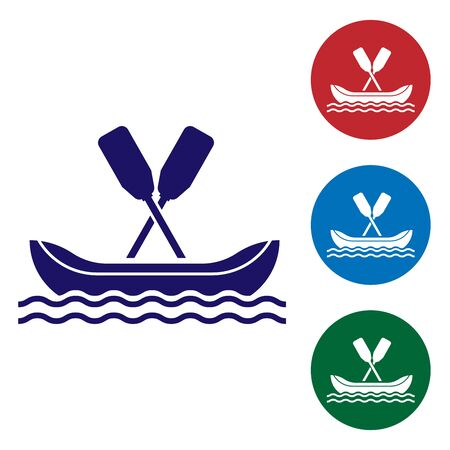 Blue Rafting boat icon isolated on white background. Kayak with paddles. Water sports, extreme sports, holiday, vacation, team building. Set color icons in circle buttons. Vector Illustration