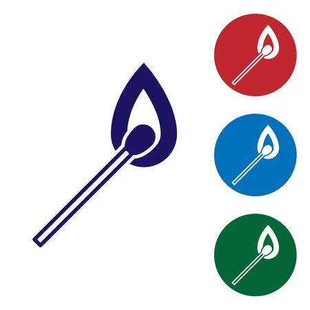 Blue Burning match with fire icon isolated on white background. Match with fire. Matches sign. Set color icons in circle buttons. Vector Illustration Illusztráció