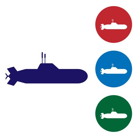 Blue Submarine icon isolated on white background. Military ship. Set color icons in circle buttons. Vector Illustration