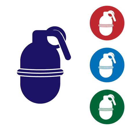 Blue Hand grenade icon isolated on white background. Bomb explosion. Set color icons in circle buttons. Vector Illustration