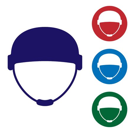 Blue Military helmet icon isolated on white background. Army hat symbol of defense and protect. Protective hat. Set color icons in circle buttons. Vector Illustration