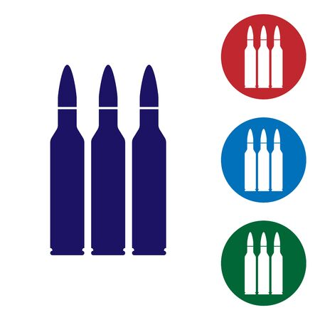 Blue Bullet icon isolated on white background. Set color icons in circle buttons. Vector Illustration