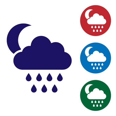 Blue Cloud with rain and moon icon isolated on white background. Rain cloud precipitation with rain drops. Set color icons in circle buttons. Vector Illustration