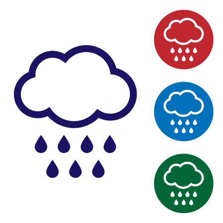 Blue Cloud with rain icon isolated on white background. Rain cloud precipitation with rain drops. Set color icons in circle buttons. Vector Illustration