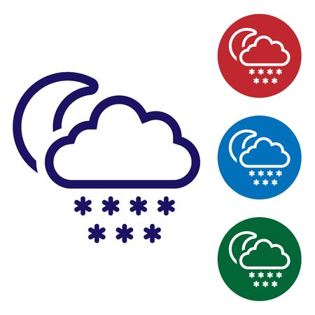 Blue Cloud with snow and moon icon isolated on white background. Cloud with snowflakes. Single weather icon. Snowing sign. Set color icons in circle buttons. Vector Illustration