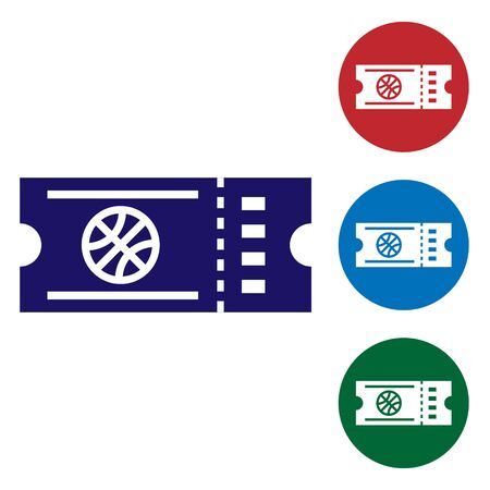 Blue Basketball game ticket icon isolated on white background. Set color icons in circle buttons. Vector Illustration
