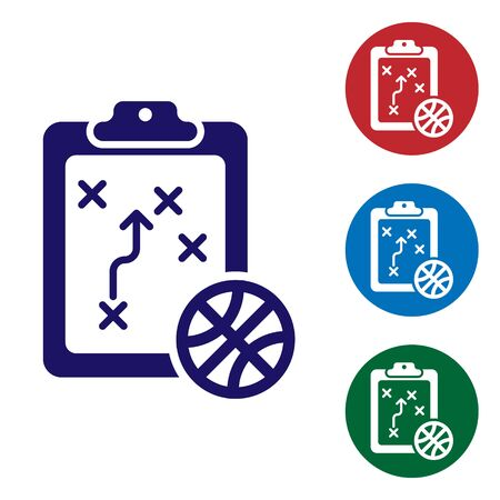 Blue Planning strategy concept icon isolated on white background. Basketball cup formation and tactic. Set color icons in circle buttons. Vector Illustration