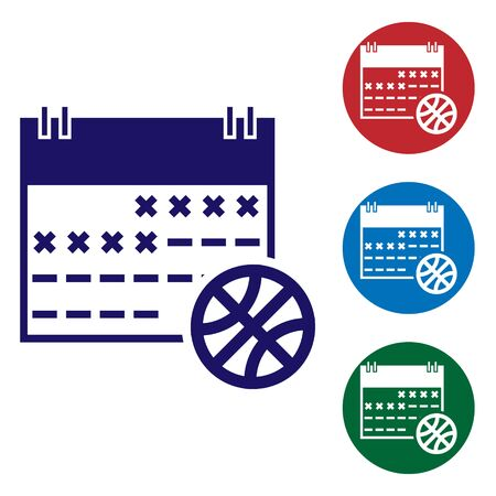 Blue Basketball on sport calendar icon isolated on white background. Set color icons in circle buttons. Vector Illustration