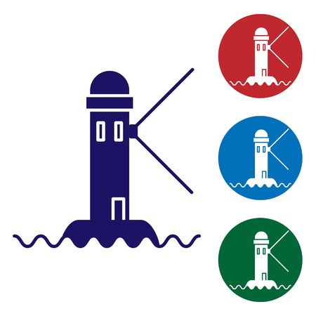 Blue Lighthouse icon isolated on white background. Set color icons in circle buttons. Vector Illustration