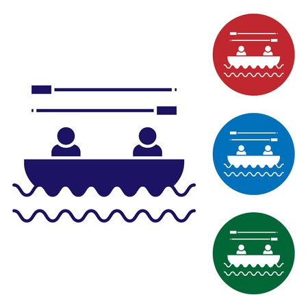 Blue Boat with oars and people icon isolated on white background. Water sports, extreme sports, holiday, vacation, team building. Set color icons in circle buttons. Vector Illustration