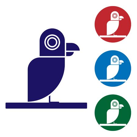 Blue Pirate parrot icon isolated on white background. Set color icons in circle buttons. Vector Illustration
