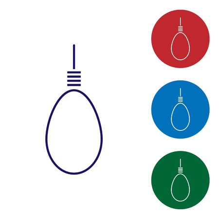 Blue Gallows rope loop hanging icon isolated on white background. Rope tied into noose. Suicide, hanging or lynching. Set color icons in circle buttons. Vector Illustration