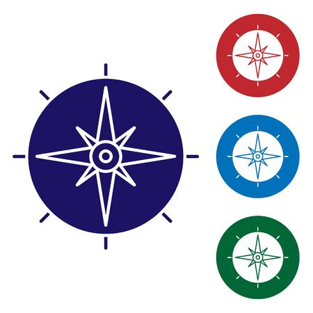 Blue Wind rose icon isolated on white background. Compass icon for travel. Navigation design. Set color icons in circle buttons. Vector Illustration