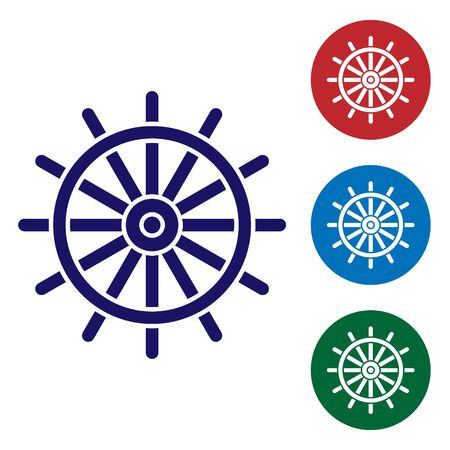 Blue Ship steering wheel icon isolated on white background. Set color icons in circle buttons. Vector Illustration Ilustracja