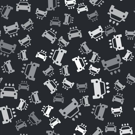 Grey Car wash icon isolated seamless pattern on black background. Carwash service and water cloud icon. Vector Illustration Illusztráció