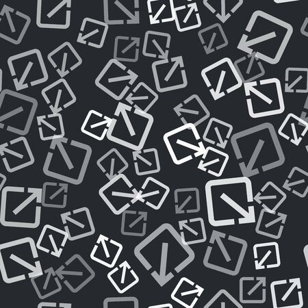 Grey Open in new window icon isolated seamless pattern on black background. Open another tab button sign. Browser frame symbol. External link sign. Vector Illustration