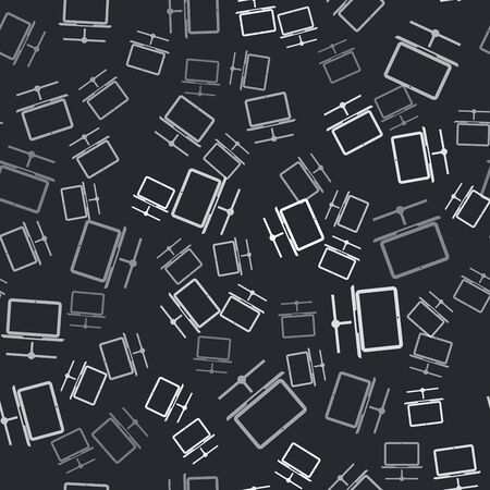 Grey Computer network icon isolated seamless pattern on black background. Laptop network. Internet connection. Vector Illustration Ilustracja
