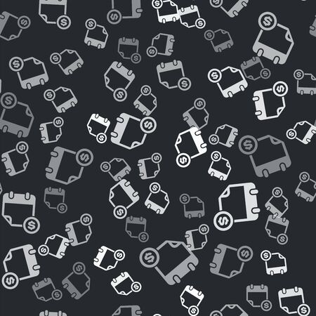 Grey Financial calendar icon isolated seamless pattern on black background. Annual payment day, monthly budget planning, fixed period concept, loan duration. Vector Illustration Illusztráció