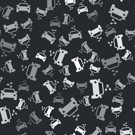 Grey Car sharing icon isolated seamless pattern on black background. Carsharing sign. Transport renting service concept. Vector Illustration