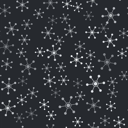 Grey Network icon isolated seamless pattern on black background. Global network connection. Global technology or social network. Connecting dots and lines. Vector Illustration