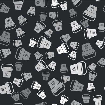 Grey Cooler bag icon isolated seamless pattern on black background. Portable freezer bag. Handheld refrigerator. Vector Illustration Illusztráció