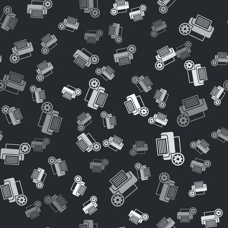 Grey Printer and gear icon isolated seamless pattern on black background. Adjusting app, service concept, setting options, maintenance, repair, fixing. Vector Illustration