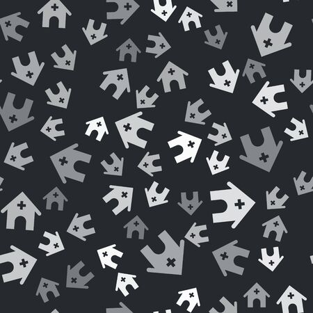 Grey Veterinary medicine hospital, clinic or pet shop for animals icon isolated seamless pattern on black background. Vet or veterinarian clinic. Vector Illustration Vector Illustratie