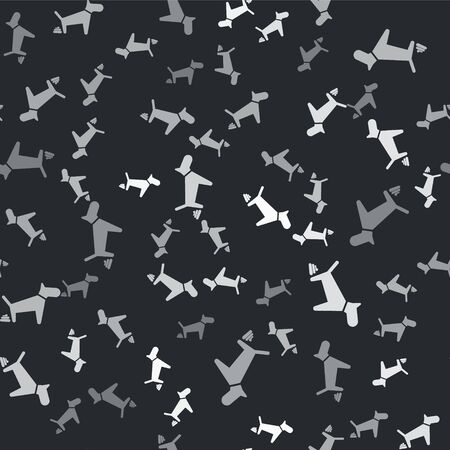 Grey Dog pooping icon isolated seamless pattern on black background. Dog goes to the toilet. Dog defecates. The concept of place for walking pets. Vector Illustration
