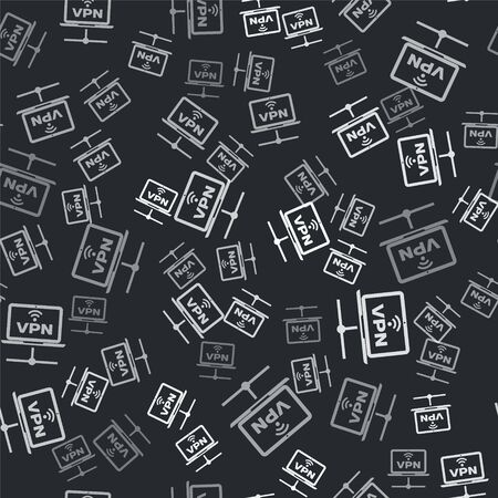 Grey VPN Computer network icon isolated seamless pattern on black background. Laptop network. Internet connection. Vector Illustration
