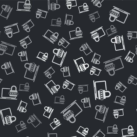 Grey Laptop with password notification and lock icon isolated seamless pattern on black background. Security, personal access, user authorization, login form. Vector Illustration