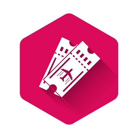 White Airline ticket icon isolated with long shadow. Plane ticket. Pink hexagon button. Vector Illustration